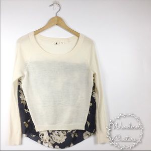 Anthro Moth Sheer Floral High Low Sweater